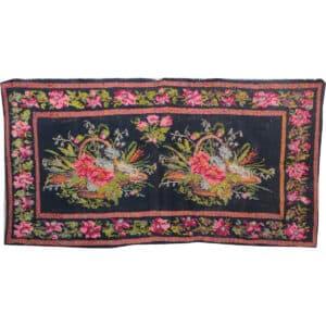 "Black kilim rug 151cm x 294cm/4'95""x9'64"""