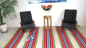 """Vintage kilim rugs 145cm x 314cm/4'75″x10'30"""""""